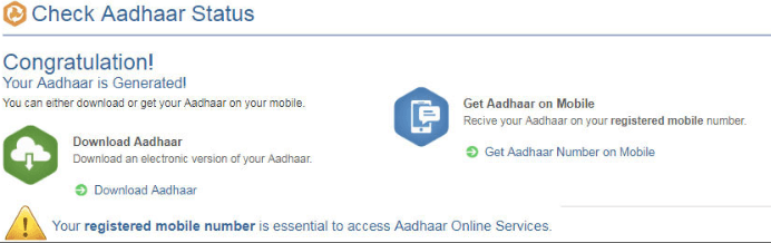 check aadhar status by enrollment number