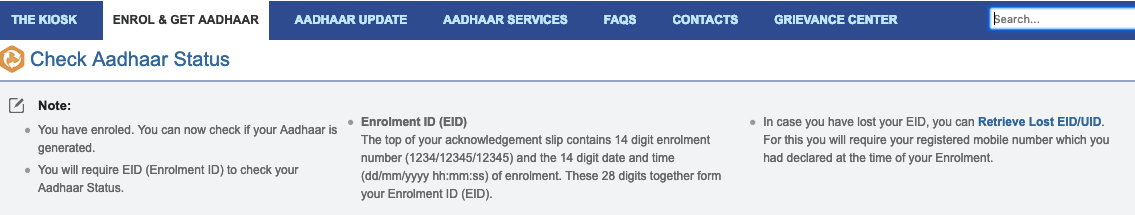 check aadhar status without enrollment no