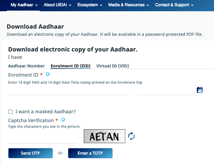 download aadhar card by enrollment number