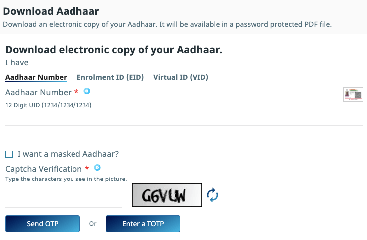 download aadhar card without mobile number